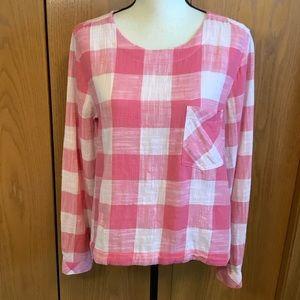 Anthro Cloth & Stone Pink & White Plaid Top Sz-M